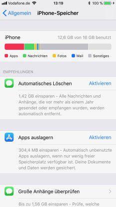 Bei Platzmangel empfiehlt das System das Auslagern von Apps