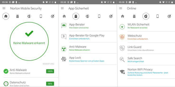 Norton Mobile Security bietet neben der reinen Malware-Erkennung auch noch eine Reihe weiterer nützlicher Funktionen