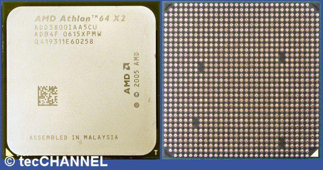 """Athlon 64 X2 3800+ EE SFF: AMDs Dual-Core-CPU für den Socket AM2 arbeitet mit 2,0 GHz Taktfrequenz. Jeder Kern besitzt einen 512 KByte großen L2-Cache. Das Modell """"Energy Efficient Small Form Factor"""" begnügt sich mit 35 Watt TDP."""