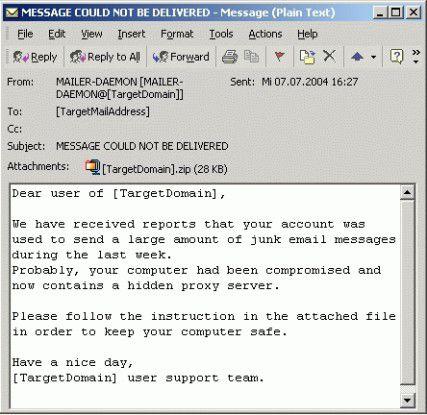 Der Nachrichtentext der neuen MyDoom-Variante gibt vor, über den Mail-Account des Opfers sei außergewöhnlich viel Spam verschickt worden.