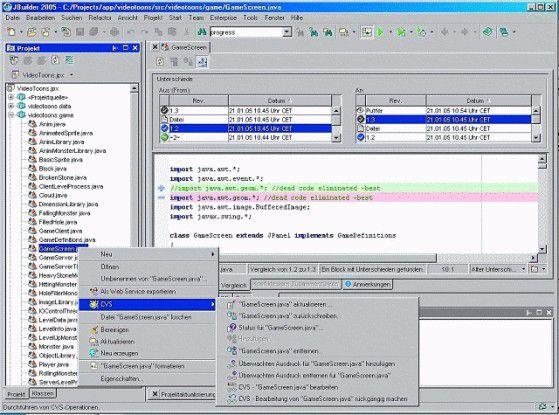 CVS-Clients sind in vielen Entwicklungsumgebungen (hier Jbuilder 2005) nahtlos integriert. Der Anwender kann die wesentlichen CVS-Befehle ausführen, ohne seine gewohnte Umgebung verlassen zu müssen.