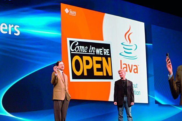 Suns Softwarechef Rich Green (rechts) und CEO Jonathan Schwartz warben für die neue Plattform Java EE 5.