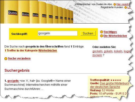 """Von wegen online ist schneller - auf www.duden.de wird noch die """"veraltete"""" Bedeutung ausgespuckt."""
