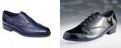 Die kleine Business-Schuh-Kunden: Brogue (links), Oxford (rechts).