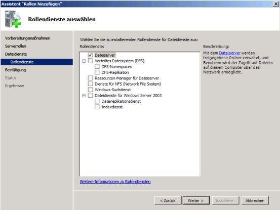 Die Installation von Windows Server 2008 wird über Server-Rollen und Features auf bestimmte Aufgaben zugeschnitten.