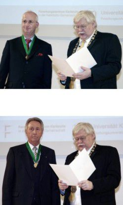 Hans-Werner Hector (unteres Foto links neben Uni-Rektor Horst Hippler) spendet der TU Karlsruhe 200 Millionen Euro. Hier bei der Verleihung der Ehrensenatorwürde 2007.