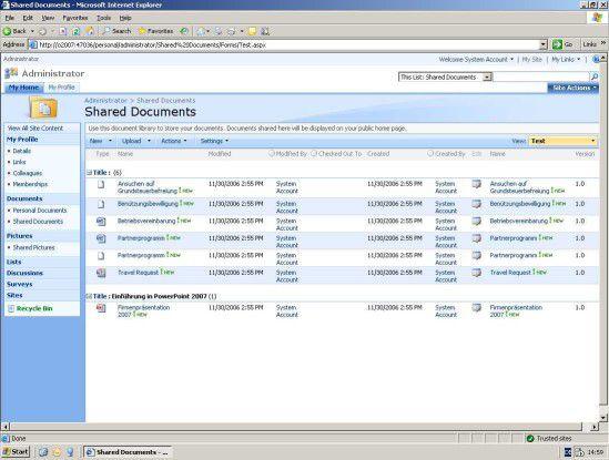 Ansicht in Sharepoint 2007 für gemeinsam nutzbare Dokumente.