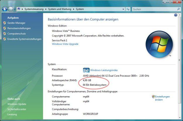 X64-Vista verrät nur an wenigen Stellen seine Identität. Es hat keine Probleme, auch mehr als 4 GB RAM zu verwalten. In heutige PC-Systemen lassen sich in der Regel nur maximal 128 GB installieren.