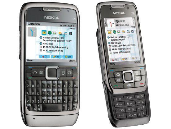 Erstmals ohne Blackberry Connect - stattdessen mit Microsoft Activesync: Die Business-Smartphones E71 und E66.
