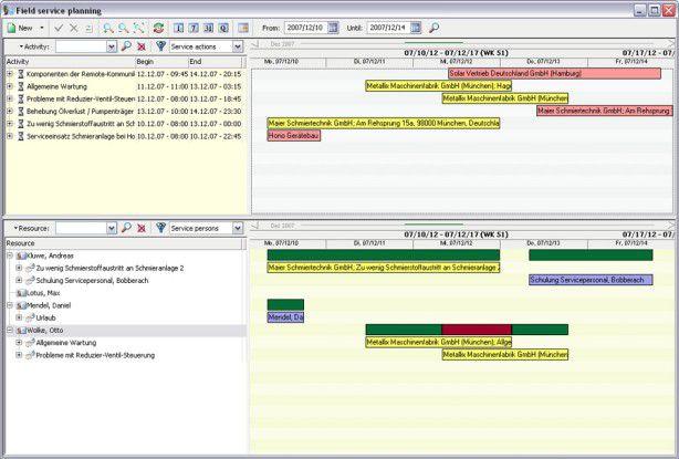 """Mit CRM-Software können Unternehmen ihren Kundendienst effizienter gestalten. Das Bild zeigt die Technikereinsatz-planung des Produkts """"Pisa Sales""""."""
