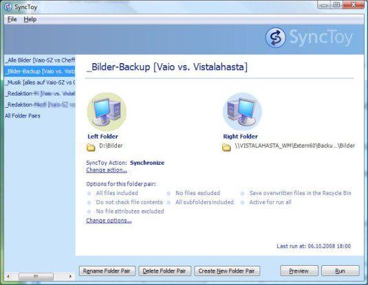 Synctoy 2.0 setzt sich vom Gros der oft komplizierten Tools mit einem simplen Bedienkonzept ab.