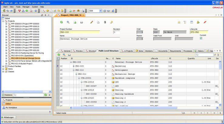 """Java-Frontend der PLM-Software """"Agile"""" von Oracle."""