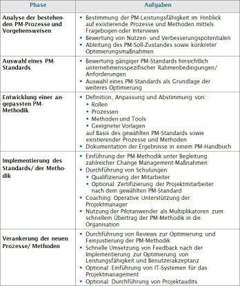 Checkliste zur Implementierung von PM-Standards