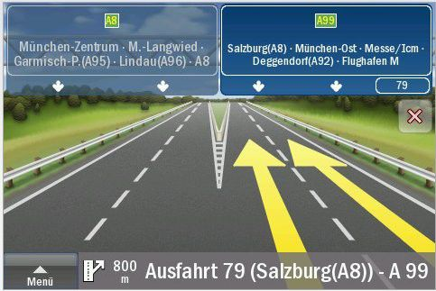 Falk Navigator für das iPhone mit Fahrspurassistent.