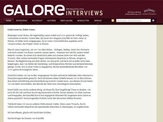 Die endgültige Bankrotterklärung auf www.galore.de -- schade!