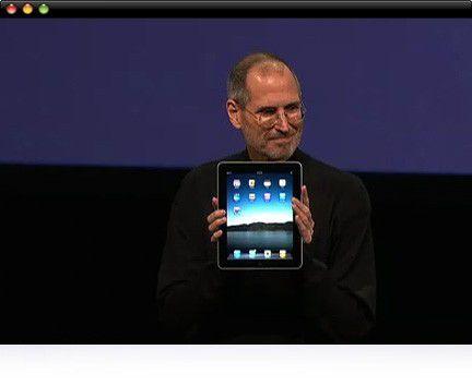 "Steve Jobs mit dem neuen Apple-Tablet ""iPad"""