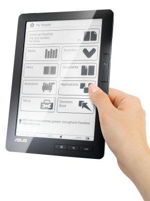 """Der E-Book-Reader """"DR-900"""" von Asus soll mit einer Akkuladung rund 10.000 Zeitungsseiten durchhalten."""