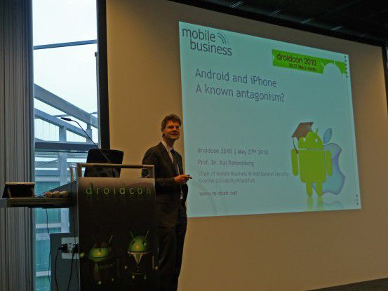 Kai Rannenberg bei seiner Keynote zur Droidcon-Konferenz 2010 in Berlin.