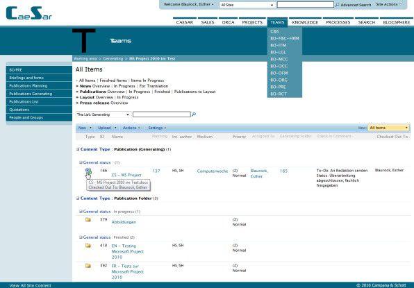 Mit dem hauseigenen SharePoint-Portal CaeSar hat die PR-Abteilung von Campana & Schott ihre Dokumente und deren Produktionsstatus immer im Blick.