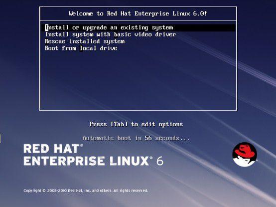 So wird man vom Startbildschirm des neuen Red Hat Enterprise Linux 6 begrüßt.