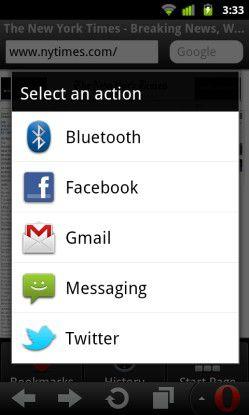 """Mit dem """"Teilen""""-Button können Opera-Nutzer interessante Inhalte direkt weiterleiten."""