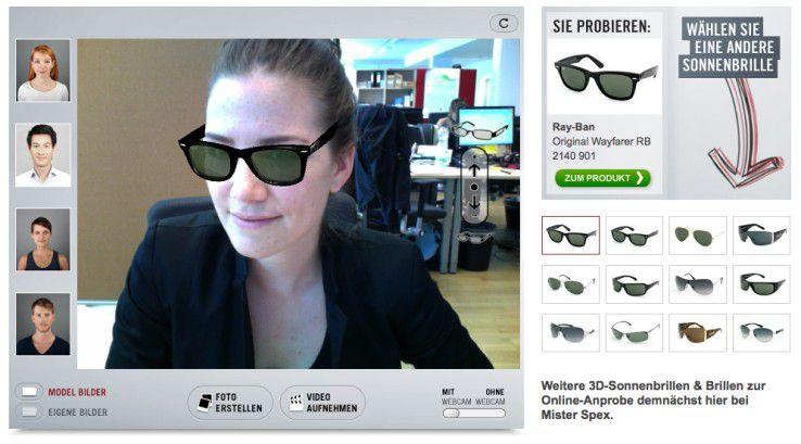 Der Brillenhändler Mister Spex ermöglicht die virtuelle Live-Anprobe via Webcam.