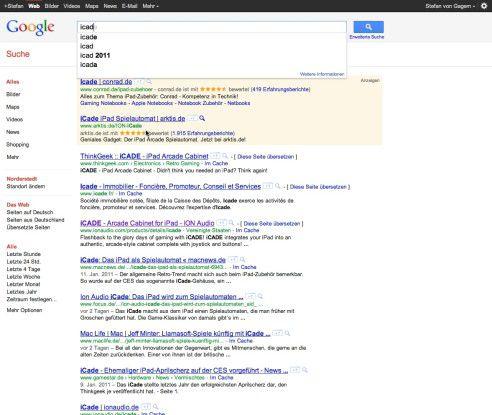 Google aktualisiert bei jedem eingegebenen Buchstaben die komplette Ergebnisseite.