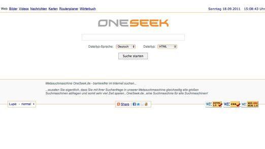 Die Startseite von Oneseek lässt sich auf verschiedene Schriftgrößen anpassen und bietet damit vor allem IE-Anwendern völlig neue Erfahrungen.