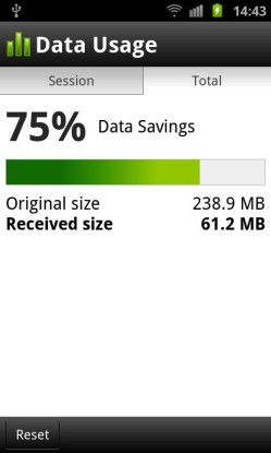 Der Opera-Browser hilft dabei, Übertragungskosten zu sparen.