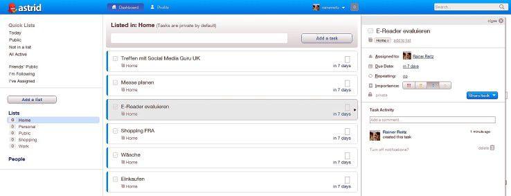 Aufgabenverwaltung auch im Social Web - mit Astrid.