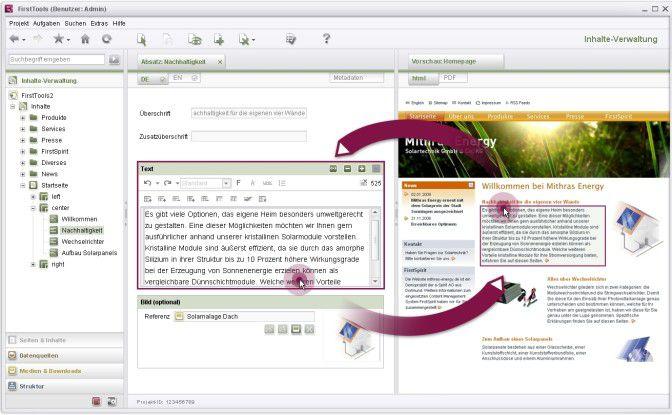 Content-Highlighting mit FirstSpirit: In der Live-Vorschau der Eingabemaske wird der bearbeitete Bereich eingerahmt. Klickt der Anwender in der Vorschau auf einen Bereich, landet er im Arbeitsfenster direkt an der entsprechenden Stelle.
