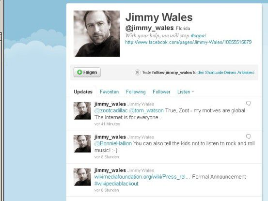 "Mit dem Eintrag ""Formal Announcement"" kündigte Wikipedia-Gründer Jimmy Wales die ""Blackout""-Aktion via Twitter an."
