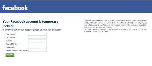 20 Euro fürs Entsperren: Mit diesem täuschend echten Eingabefenster halten Erpresser bei Facebook-Nutzern die Hand auf.