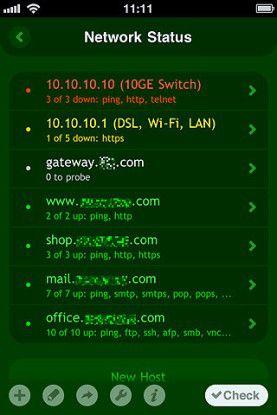 Net Status prüft die Verfügbarkeit wichtiger Netz-Server und anderer vernetzter Geräte.