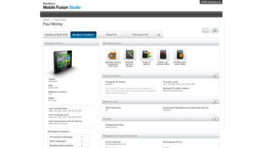Die Verwaltungsoberfläche von Mobile Fusion