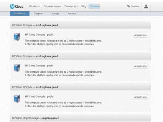 Im Dashboard des öffentlichen App Store HP Cloud können User ihre dort bezogenen Dienste verwalten.