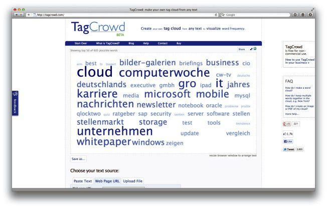 TagCrowd hilft beim Erstellen von Schlagwortwolken.