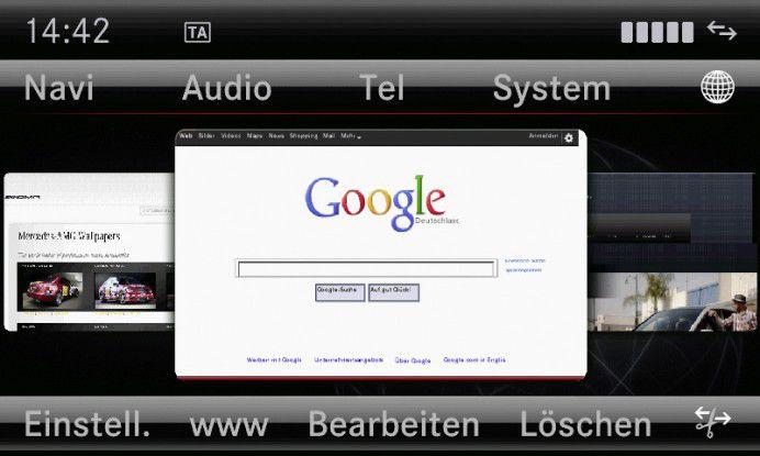 Die Tage klassischer fahrzeugspezifischer Online-Systeme (im Bild ein Comand Online von Mercedes) sind gezählt - Auto und Smartphone wachsen zusammen.