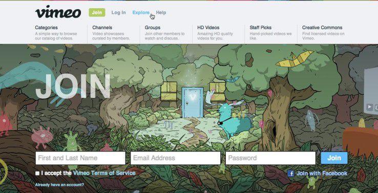 Wie ein gutes Klappmenü aussehen kann, zeigt Vimeo.com: wenige, aufgeräumte Unterpunkte, die mit kurzen Texten vor dem Klick erklärt werden.