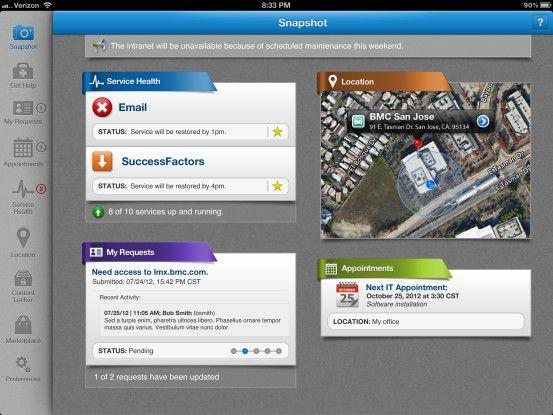 Alles auf einen Blick - am PC wie auf dem Tablet. Laut BMC steuert der Endanwender seine IT-Arbeitsumgebung künftig selbst.
