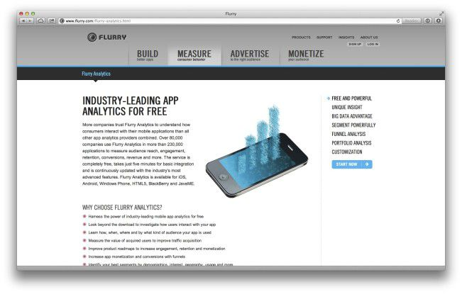 """Flurry Analytics"" arbeitet à la ""Google Analytics"" für mobile Apps."