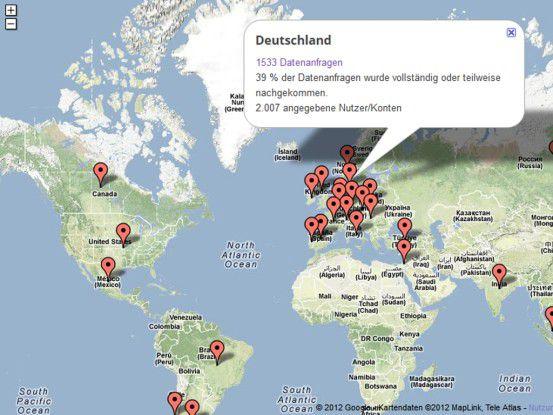 Deutschland liegt mit 1533 Anfragen auf dem fünften Platz.