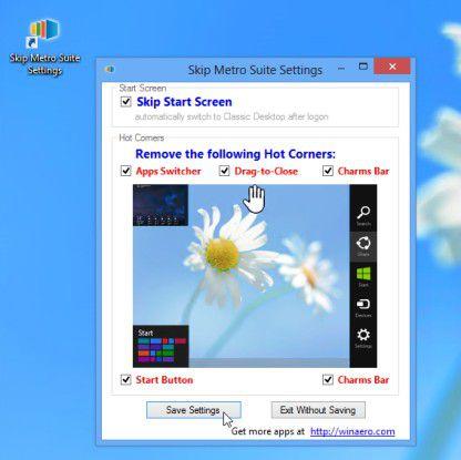 Alle Windows-8-Besonderheiten umgehen oder abschalten - mit der Skip Metro Suite.