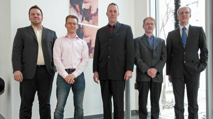 Bilder: v.l.n.r. Dirk Ohligschläger (Braincourt), Frank Schmidt (KVB), Oliver Wildenstein (MLP), Thomas True (FOCKE & CO.), Michael Wernz (Information Quality Institute GmbH).