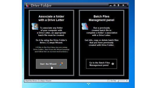"""Die Software """"Drive Folder"""" schirmt den unerfahrenen Anwender von der Kommandozeile ab und unterstützt ihn bei der Einrichtung eines virtuellen Laufwerks."""