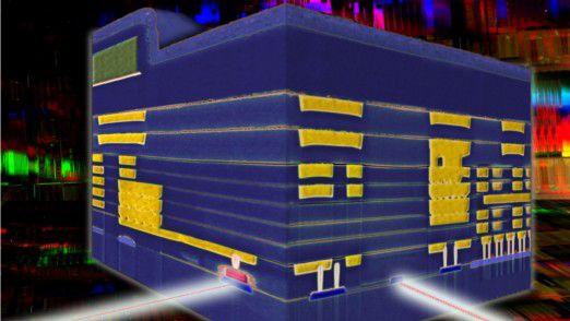 Der Nanophotonics-Chip kombiniert Photonik und Silizium-Transistoren.