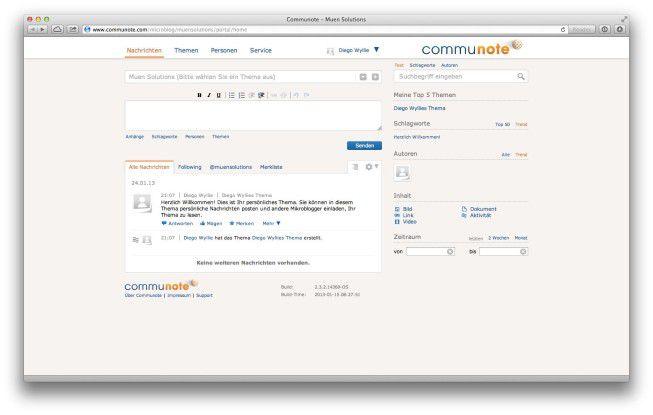 """""""Communote"""" ist eine umfassende und flexible Lösung, von der sowohl kleine als auch größere Unternehmen des gehobenen Mittelstands profitieren können. Sie bietet Sicherheit und Datenschutz nach deutschem Standard. Wem das nicht genug ist, kann die Software selbst betreiben."""
