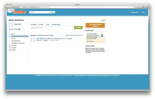 """""""Salesforce Chatter"""" adressiert sowohl kleine als auch große Teams und zählt zu den erfolgsreichsten Social Enterprise-Tools, die der Markt derzeit zu bieten hat. Wer es schlicht und einfach mag, der sollte sich das Tool näher anschauen."""