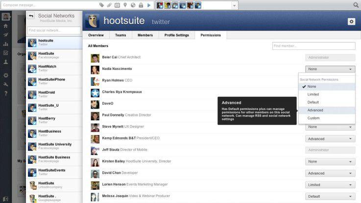 Mit HootSuite Enterprise lassen sich die Berechtigungen für einzelne Nutzer zentral definieren.
