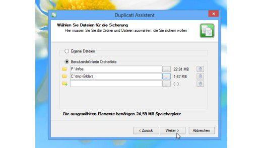 Der Anwender kann mit Hilfe der Software Duplicati selbst einrichten, welche Dateien und Ordner regelmäßig auf den Cloud-Speicher gesichert werden sollen.